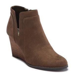 Retro Wedge Bootie Sz 5.5 Brown Olive Wooden Boots